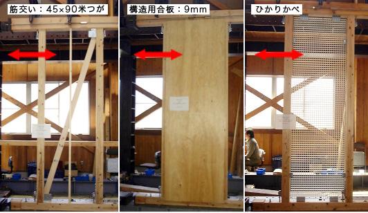 壁の動的振動実験比較